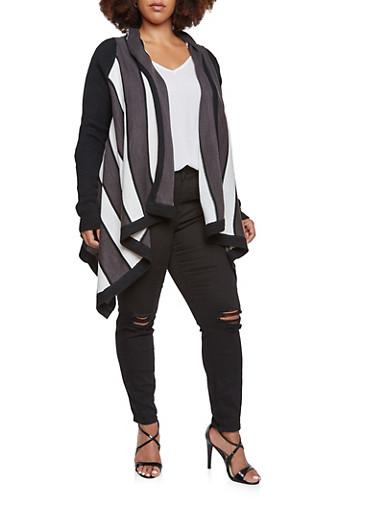 Plus Size Asymmetrical Cardigan in Stripes,BLACK,large