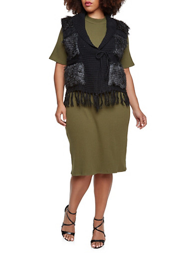 Plus Size Fringed Sweater Vest with Faux Fur,BLACK,large