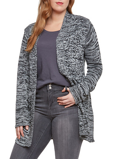 Plus Size Open Front Cardigan in Marled Knit,GRAY,large