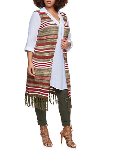 Plus Size Striped Knit Maxi Vest with Fringe,OLIVE,large