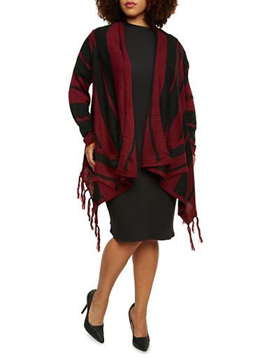 Plus Size Striped Open Cardigan with Fringe,BLACK,large