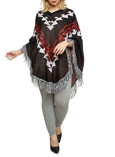 Plus Size Knit Poncho with Fringe Trim,BLACK,large