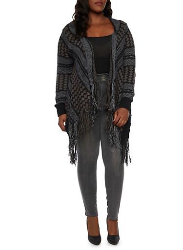 Plus Size Striped Cardigan with Fringe Hem,BLACK,large