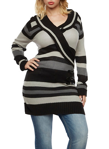 Plus Size Striped Tunic Sweater with Wrap Front,BLACK,large
