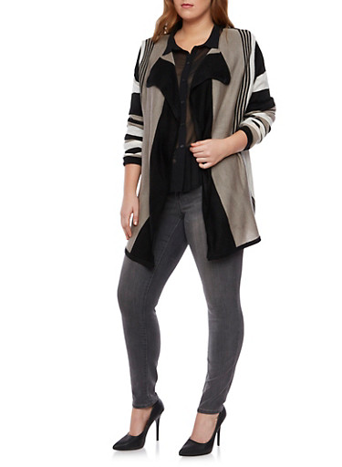 Plus Size Striped Cardigan with Open Front,BLACK,large