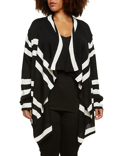 Plus Size Striped Cardigan with Asymmetrical Front,BLACK,large