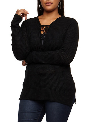 Plus Size Knitted Lace Up Sweater,BLACK,large