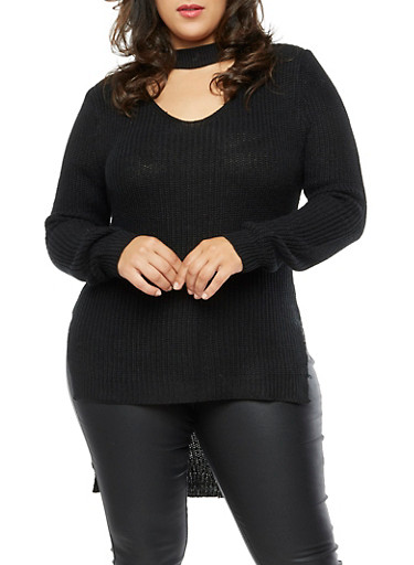 Plus Size Long Sleeve Choker Neck High Low Sweater,BLACK,large