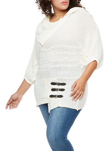 Plus Size Button Neck Sweater with Belted Hem Detail,IVORY,large