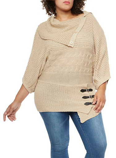 Plus Size Button Neck Sweater with Belted Hem Detail,KHAKI,large