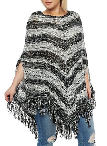 Plus Size Striped Fringe Poncho,BLACK/WHITE,large