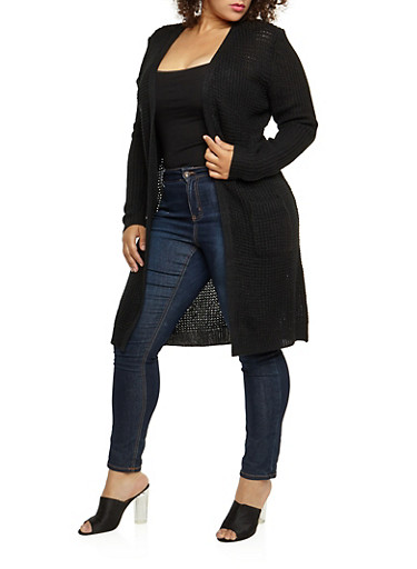 Plus Size Heavy Knit Duster,BLACK,large