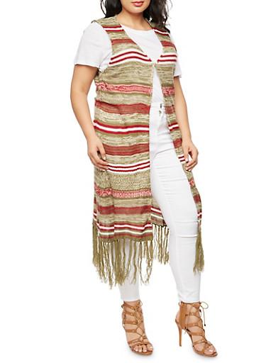 Plus Size Striped Fringe Sweater,OLIVE,large