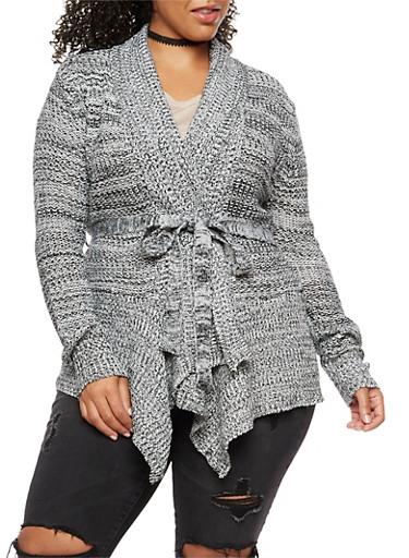Plus Size Marled Knit Cardigan,IVORY,large