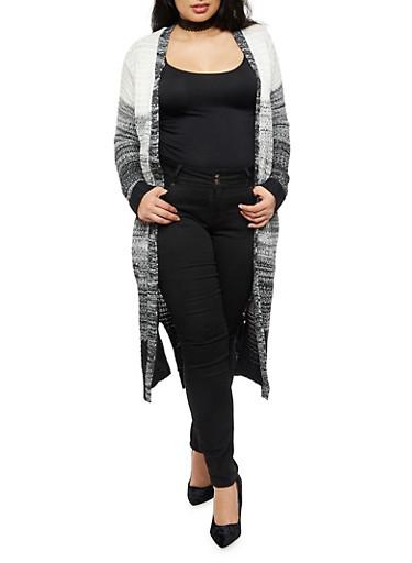 Plus Size Marled Long Cardigan,BLACK,large