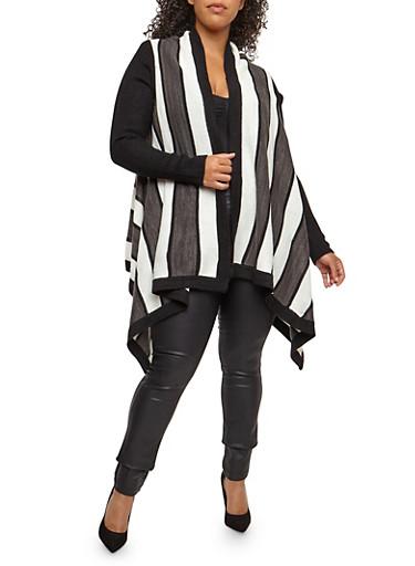Plus Size Striped Cardigan,BLACK,large