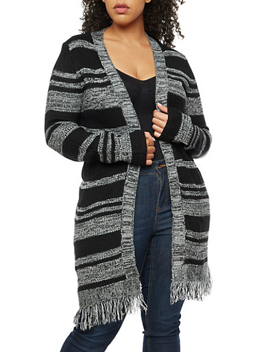 Plus Size Striped Open Front Cardigan with Frayed Bottom at Rainbow Shops in Daytona Beach, FL | Tuggl