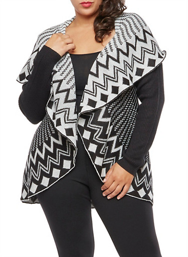 Plus Size Printed Shawl Collar Cardigan,IVORY,large