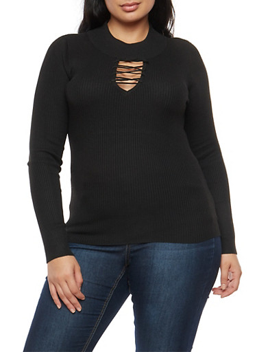 Plus Size Lace Up Sweater,BLACK,large