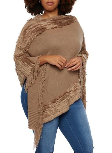 Plus Size Knit Poncho with Plush Trim,DARK TAUPE,large