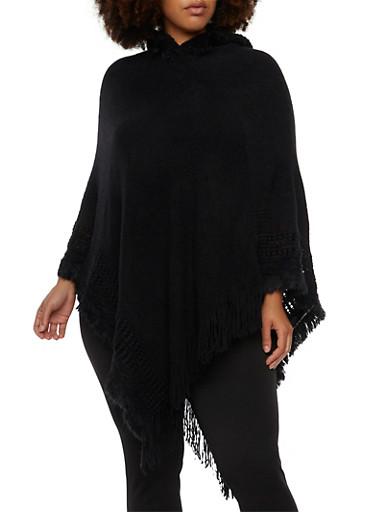 Plus Size Hooded Poncho with Fringe Hem,BLACK,large