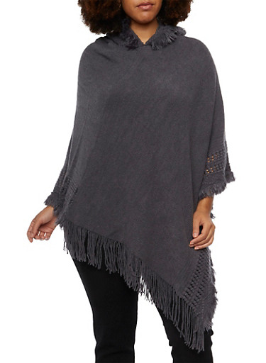 Plus Size Knit Hooded Poncho with Fringe Trim,GRAY,large