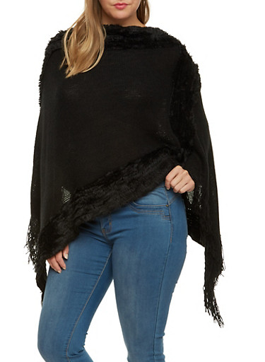 Plus Size Asymmetrical Poncho with Faux Fur Trim,BLACK,large