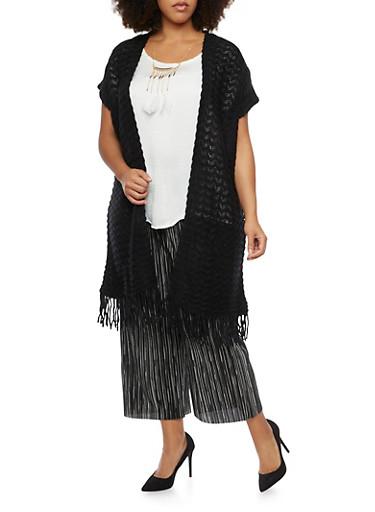 Plus Size Short Sleeve Fringe Trim Cardigan,BLACK,large