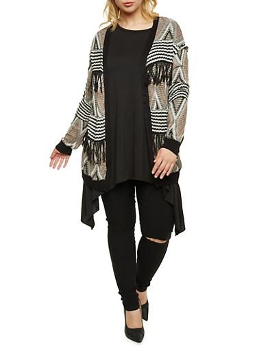 Plus Size Geometric Cardigan with Fringe Trim,BLACK,large