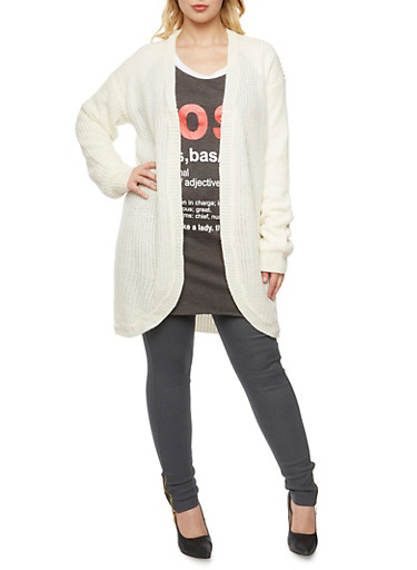 Plus Size Long Cardigan with Open Front,IVORY,large