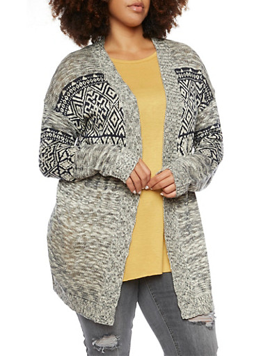Plus Size Cardigan with Aztec Print,NAVY COMBO,large