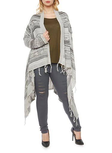 Plus Size Asymmetrical  Striped Knit Cardigan,BLACK-GREY,large