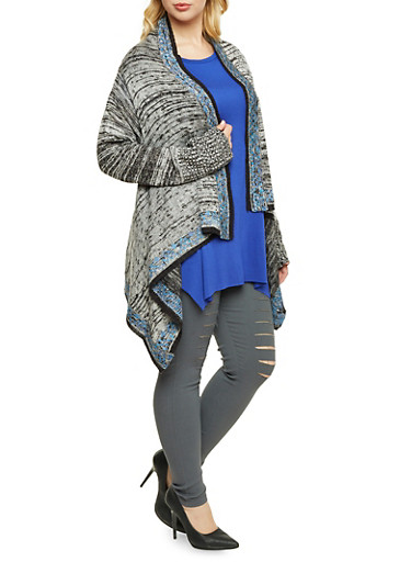 Plus Size Asymmetrical Cardigan with Open Front,BLACK COMBO,large