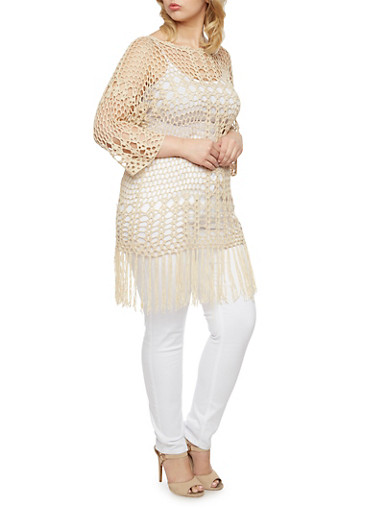 Plus Size Crochet Sweater with Fringe,NATURAL,large