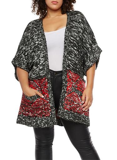 Plus Size Marled Heavy Knit Cardigan,BLACK,large