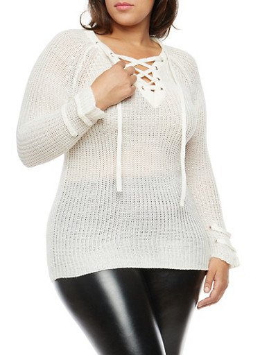 Plus Size Lace Up Sweater at Rainbow Shops in Daytona Beach, FL | Tuggl