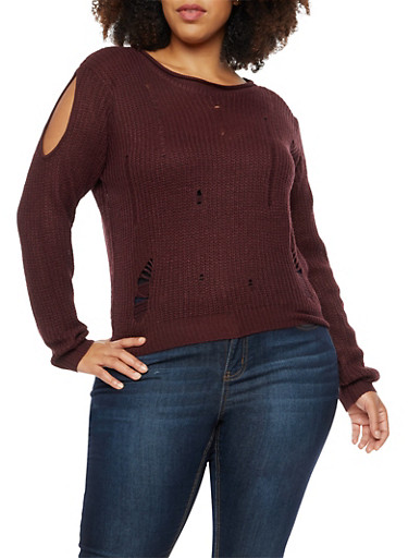 Plus Size Distressed Cold Shoulder Sweater,WINE,large