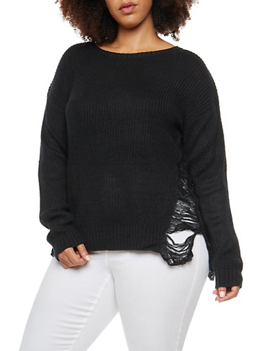 Plus Size Sweater with Distressed Side,BLACK,large