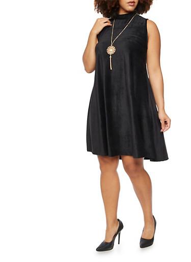 Plus Size Velvet Corduroy Swing Dress,BLACK,large