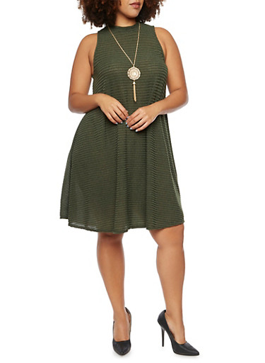 Plus Size Sleeveless Flared Dress in Rib Knit,ARMY OLIVE,large