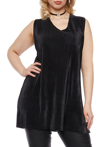Plus Size Sleeveless Pleated Tunic Top,BLACK,large