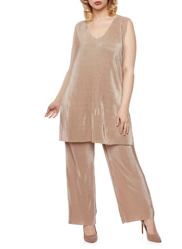 Plus Size Sleeveless Pleated Tunic Top,TAUPE,large