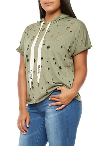Plus Size Short Sleeve Perforated Hoodie,OLIVE,large