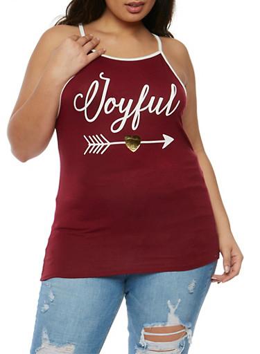Plus Size Joyful Graphic Tank Top,BURGUNDY,large