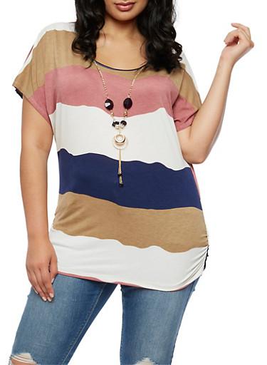 Plus Size Wavy Stripe Top with Detachable Necklace,MAUVE,large