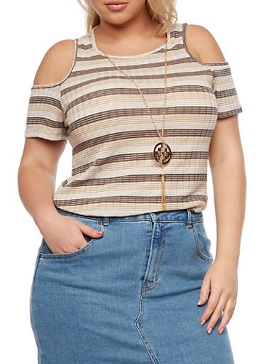 Plus Size Striped Ribbed Knit Cold Shoulder Top,DENIM,large
