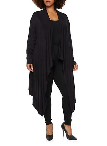 Plus Size Cardigan with Draped Paneling,BLACK,large