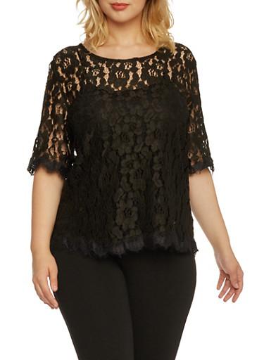 Plus Size Zip Back Lace Top,BLACK,large