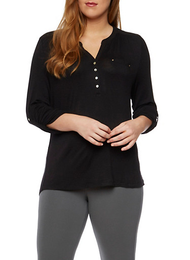 Plus Size Knit Henley with Shirred Detail,BLACK,large