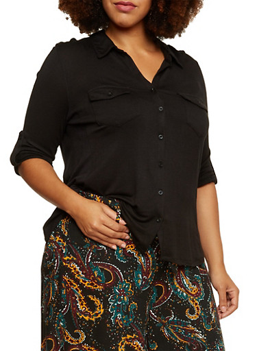 Plus Size Button Front Shirt with Ribbed Panels,BLACK,large